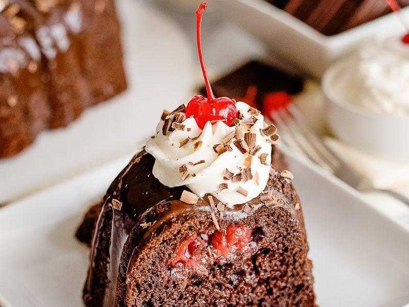 black forest cake slice on a plate