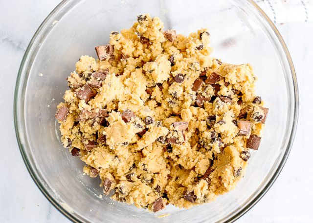 raw cookie dough in a bowl