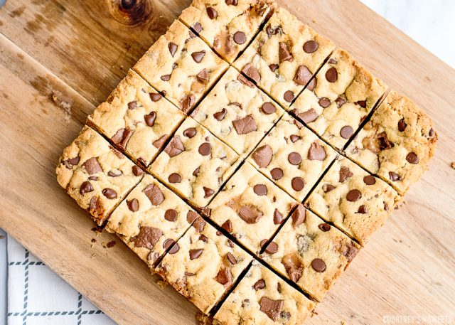 sliced cookie bars on a cutting board