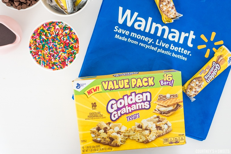 smores treat bars on a walmart bag sprinkles in a bowl