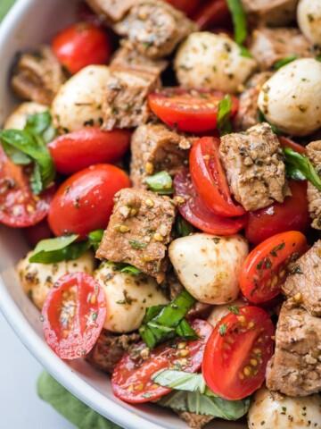 pork caprese salad