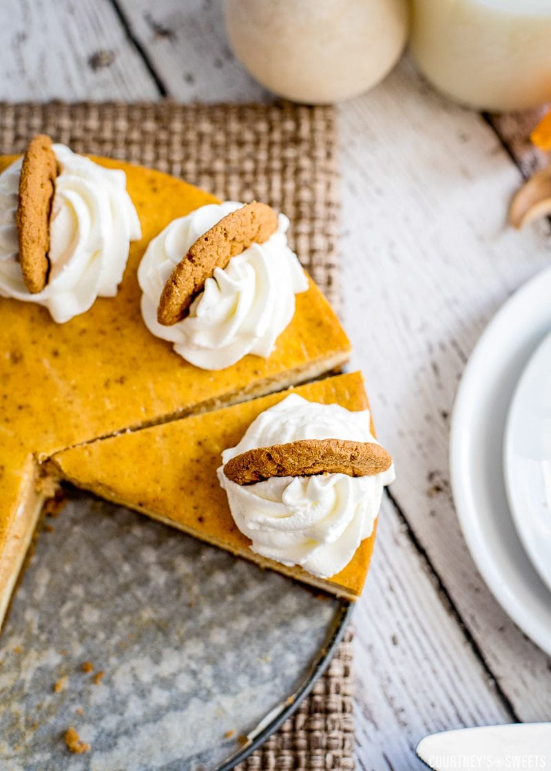 sliced pumpkin cheesecake