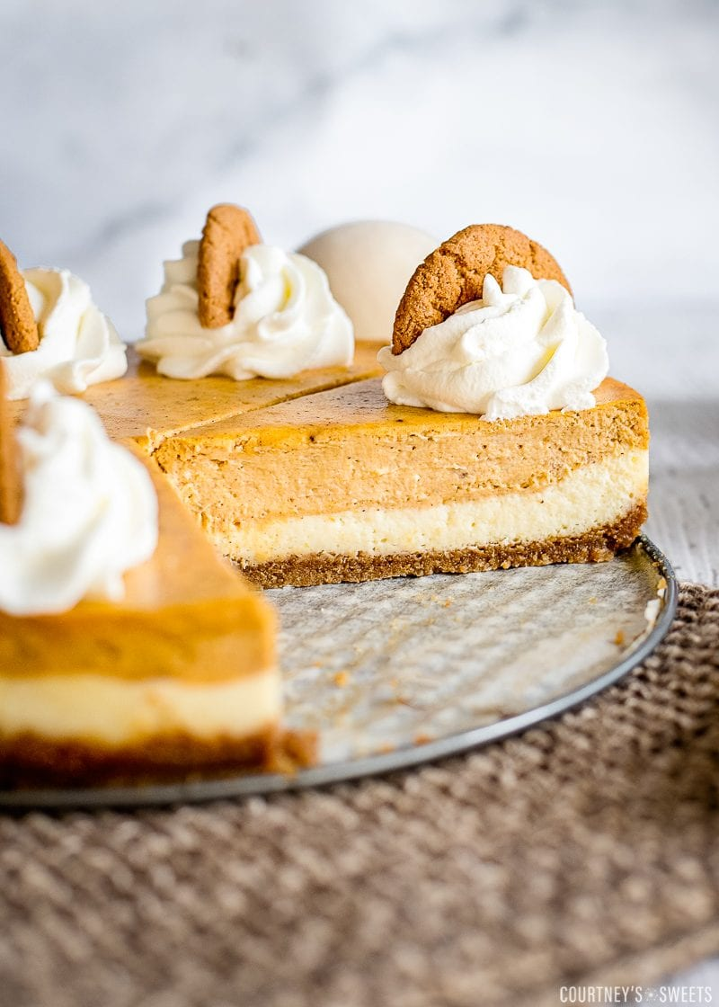 cut into layered pumpkin cheesecake