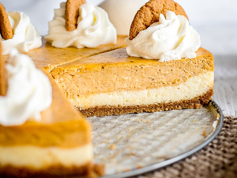cut into layered pumpkin cheesecake