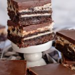 Layered Oreo Brownies with Ganache Frosting