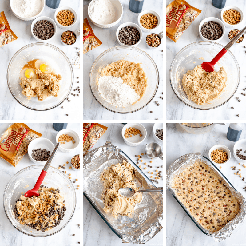 step by step photos how to make cookie bars