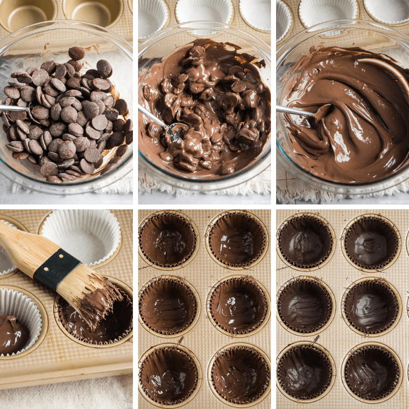step by step photos making chocolate cups
