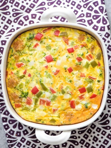 tater to breakfast casserole in baking dish