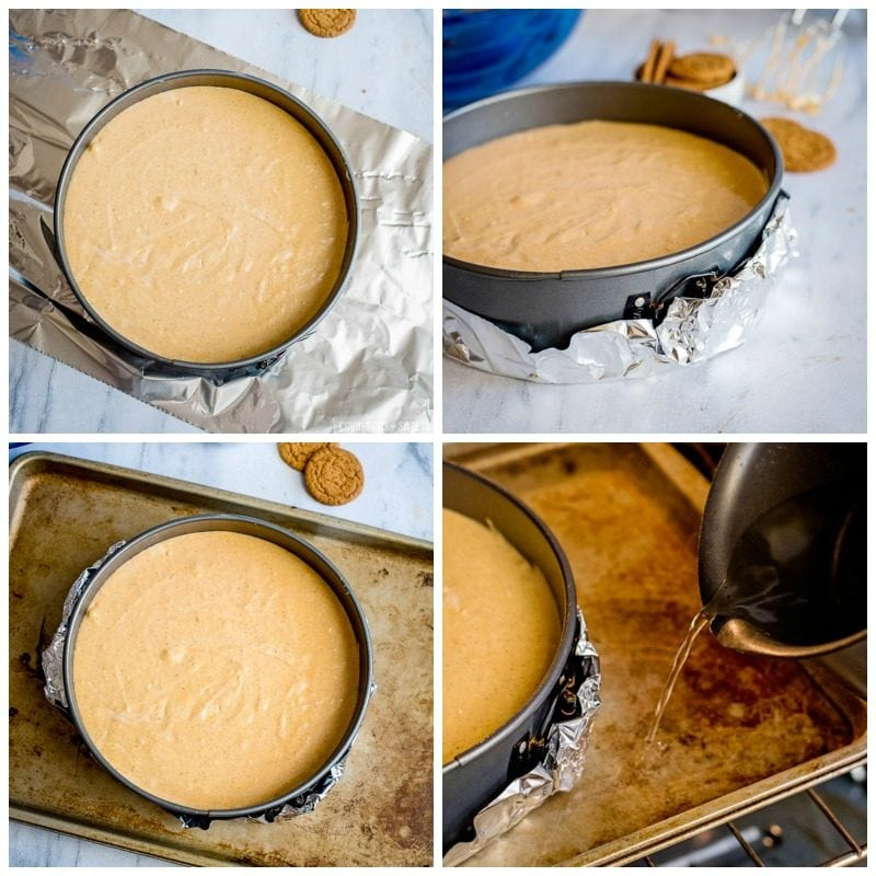 cheesecake water bath baking in oven step by step photos