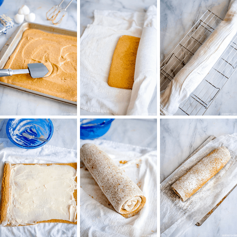 step by step photos how to roll a pumpkin roll