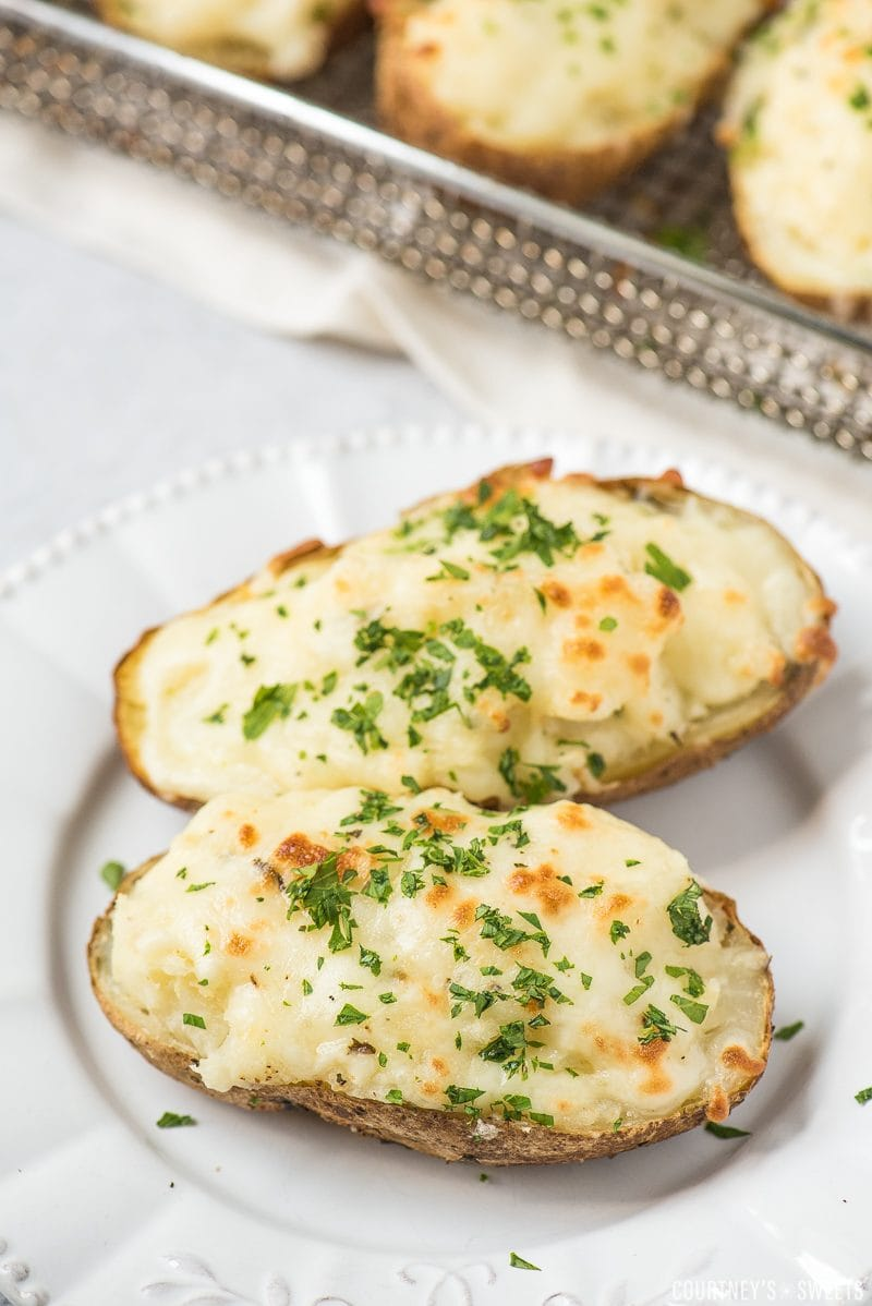 air fryer twice baked potatoes on a plate