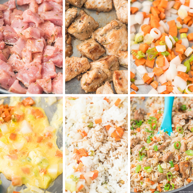 step by step photos making pork fried rice