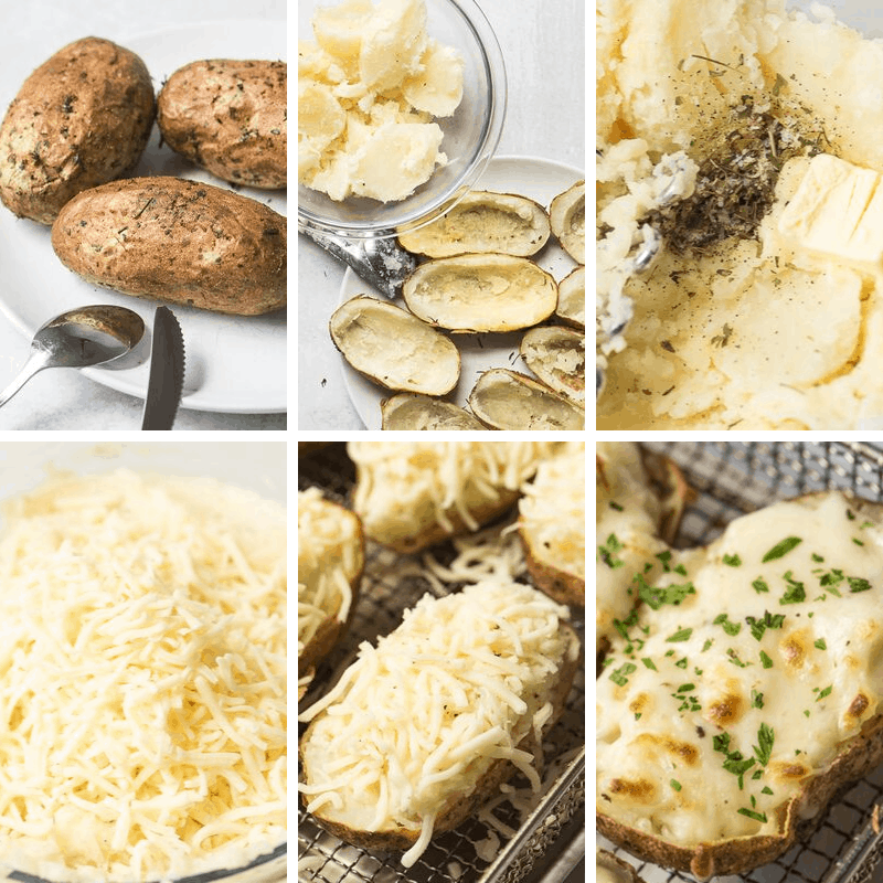 step by step photos how to make twice baked potatoes in the air fryer