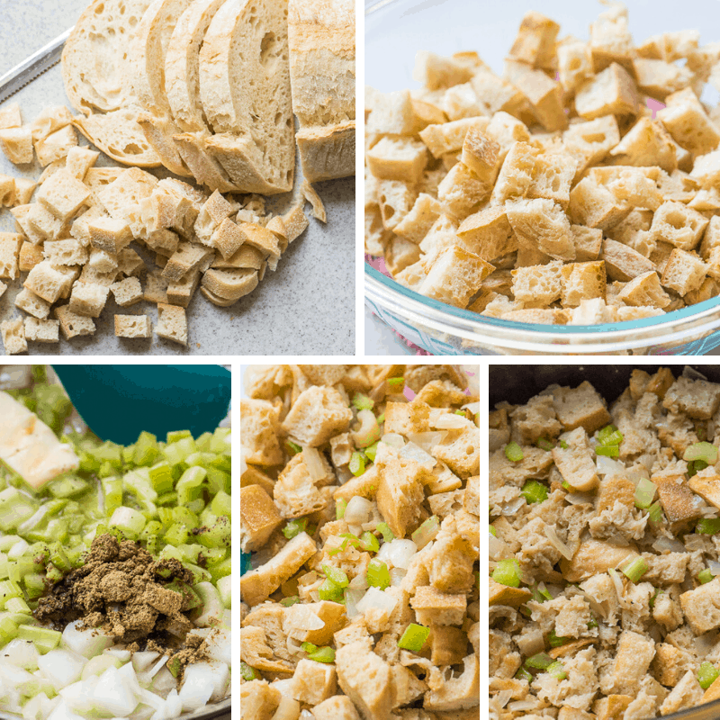 step by step photos making stuffing