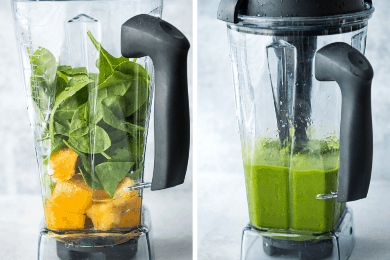 green smoothie ingredients in blender and blended in vitamix