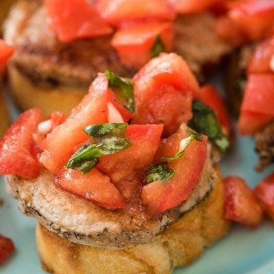 pork loin bruschetta toast appetizer on a plate