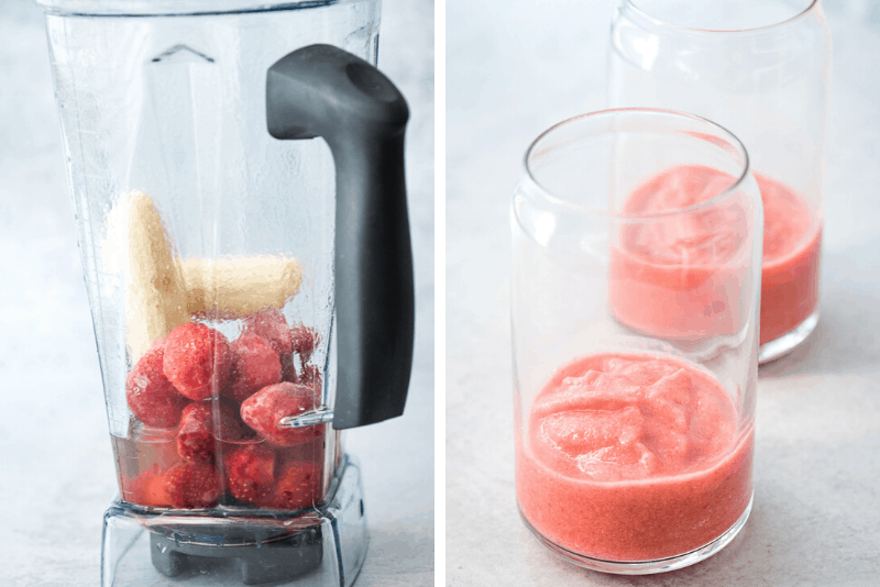 smoothie ingredients in blender and blending in glass cup