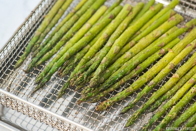 roasted asparagus in air fryer rack