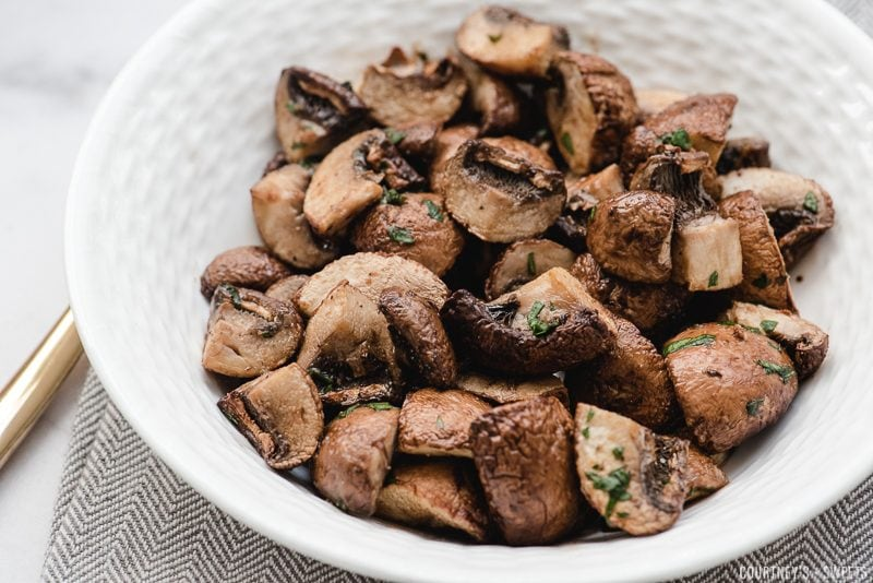 air fryer fried mushrooms in a bowl