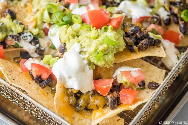 loaded nachos on air fryer rack