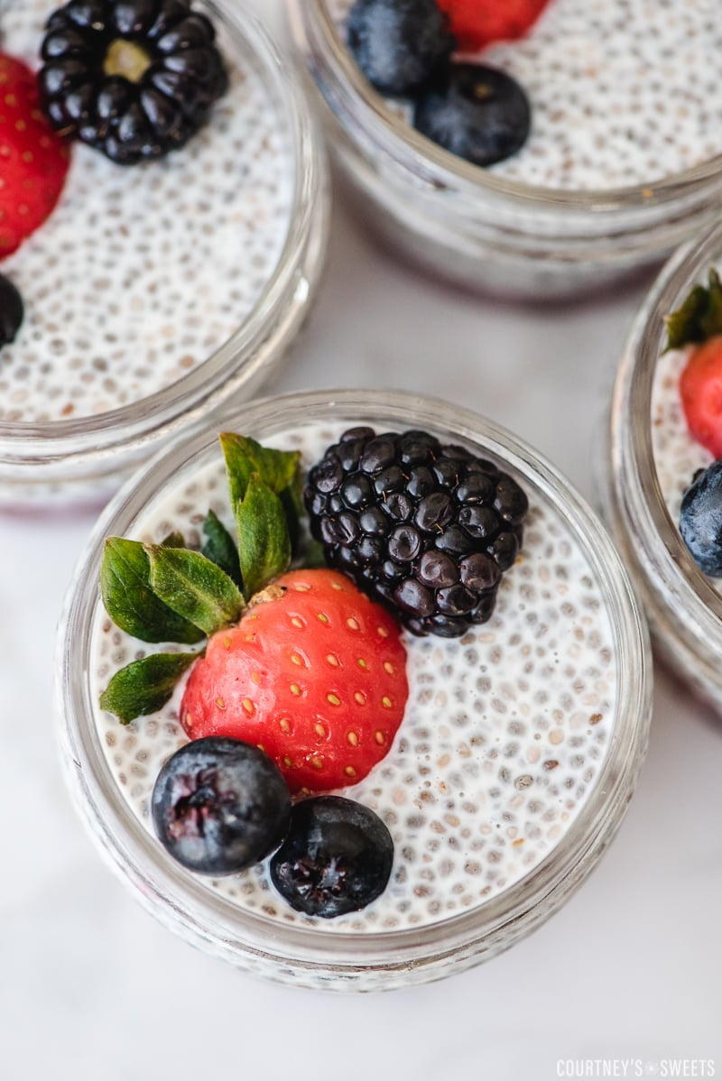 close up of chia seed pudding glass jar