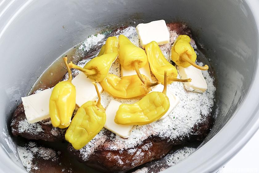 ingredients in slow cooker for mississippi pot roast recipe